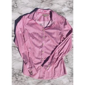 Banana Republic pink and white button down size 2